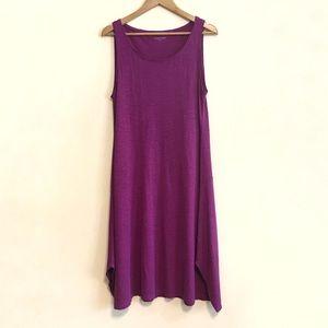 Eileen Fisher Magenta Hemp Shift Midi Dress Small